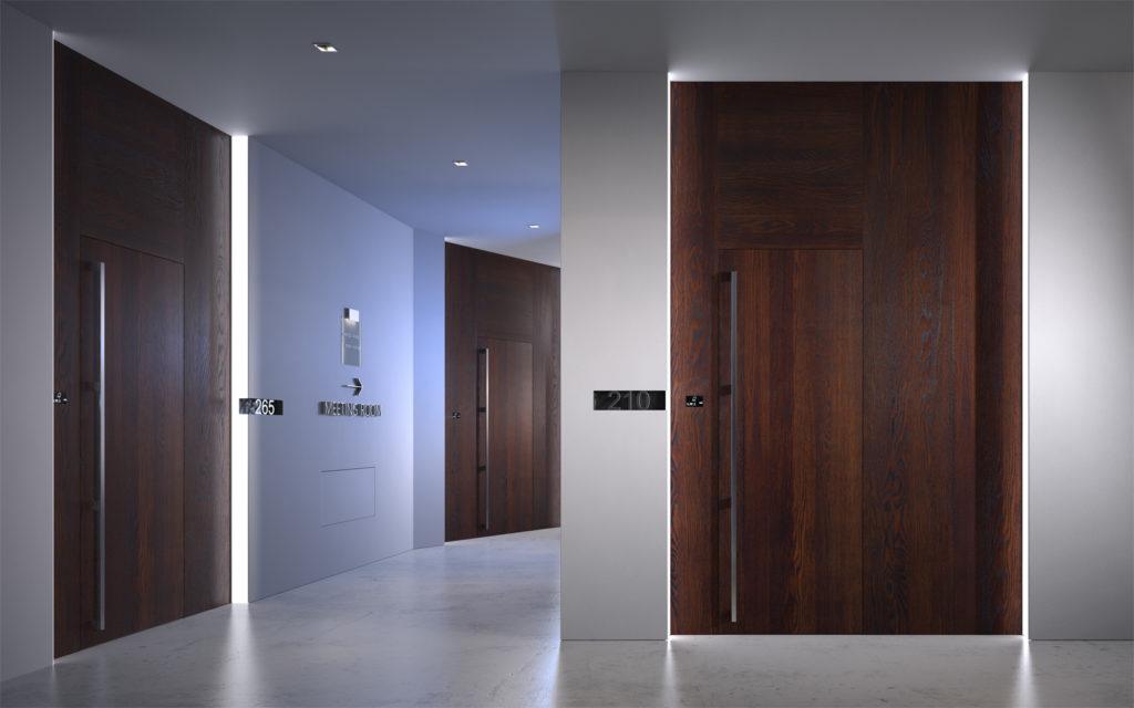 porte tagliafuoco in legno con boiserie