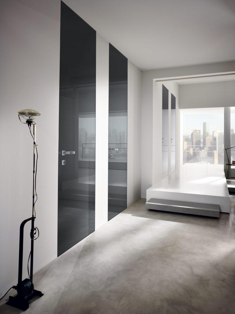 porte raso parete laccate lucide grigie