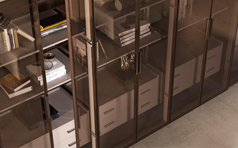 Sistema scaffalature libreria in vetro - Garofoli