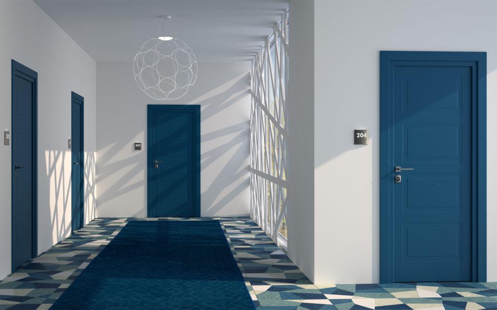 porte per hotel colorate blu