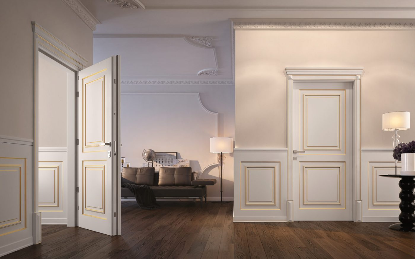 Porta blindata con boiserie stile classico - Garofoli