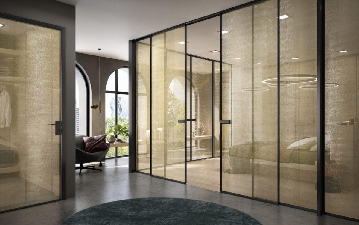 Porta scorrevole in vetro moderna - Garofoli