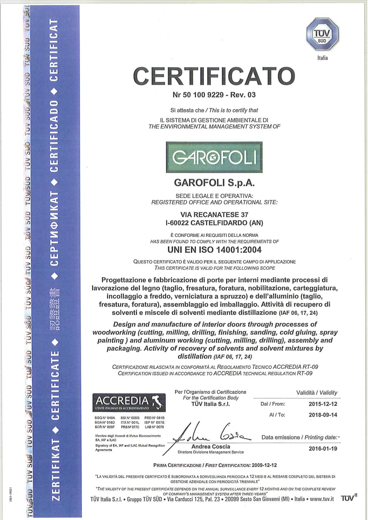 Garofoli ISO14001 - Garofoli