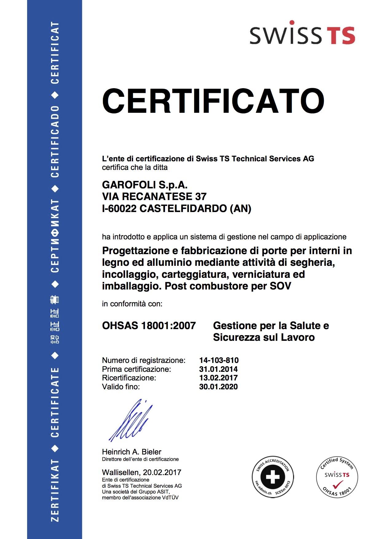 Garofoli OHSAS 18001 - Garofoli