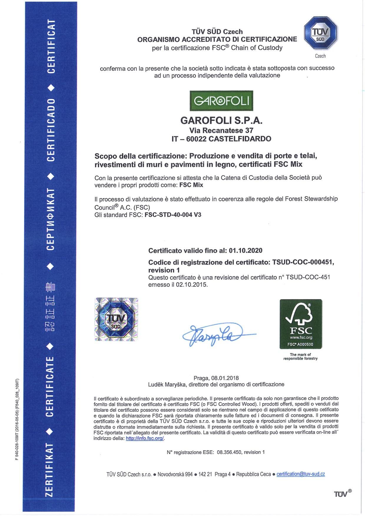 Garofoli certificato fsc - Garofoli