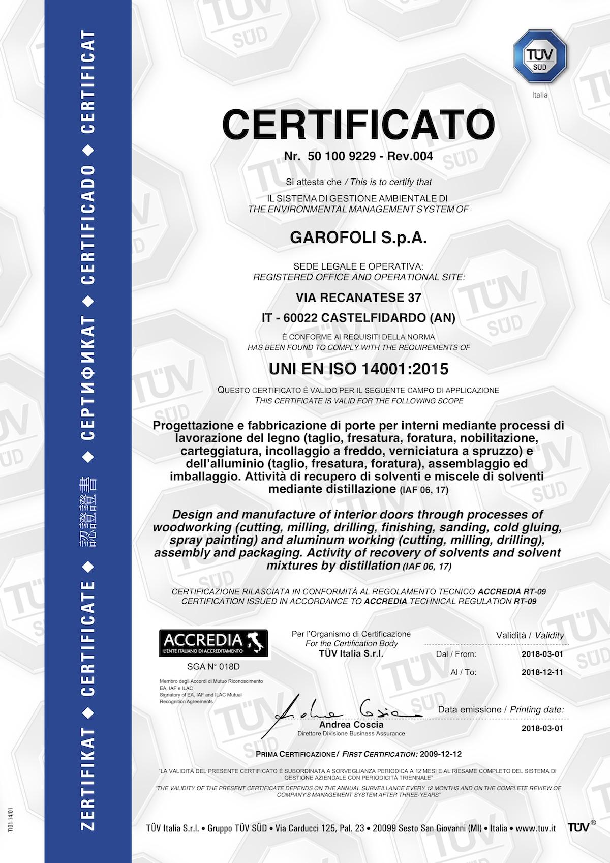 Garofoli certificato UNI EN ISO - Garofoli