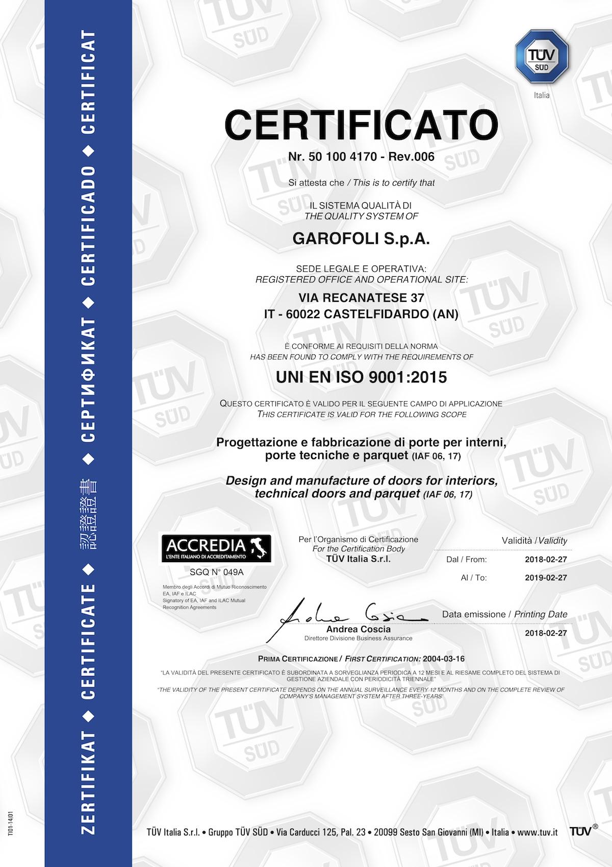 Garofoli Uni Iso 9001 - Garofoli
