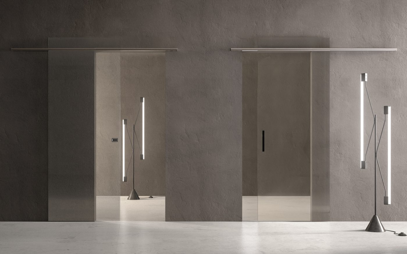 Porta Scorrevole Esterna Vetro sliding doors: recessed doors and exposed sliding doors