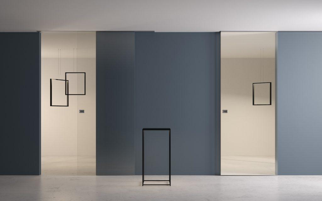 Porte scorrevoli esterno muro in vetro a filo muro