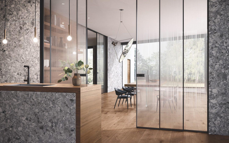 Cucina Con Vetrata Scorrevole pannelli, boiserie e parquet per una cucina di design | garofoli