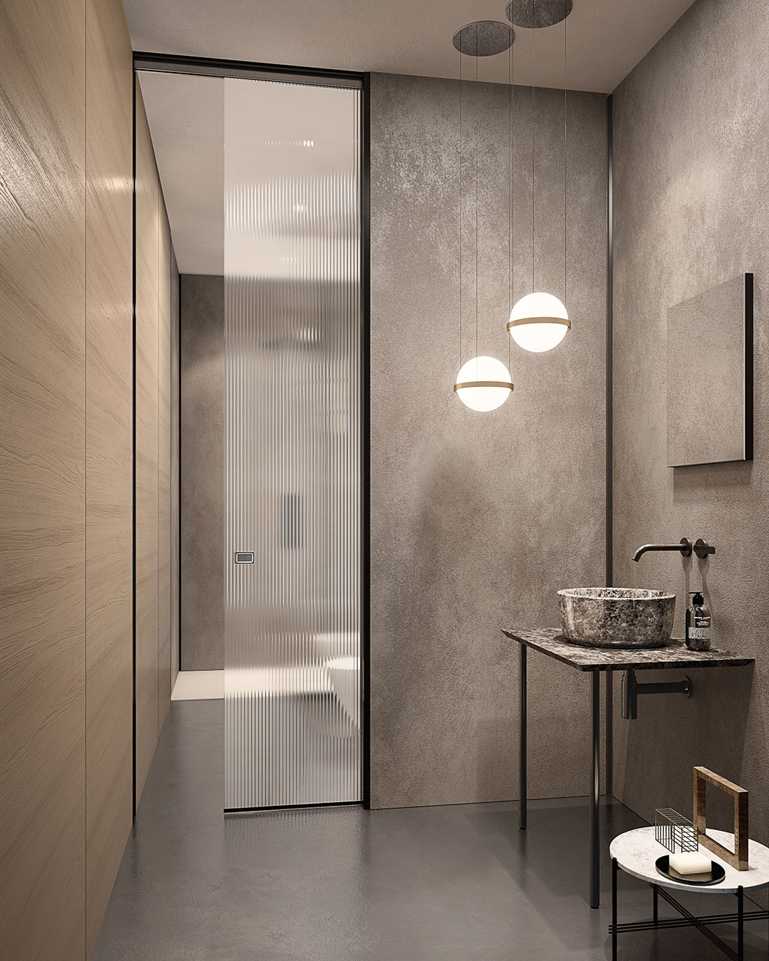Porta in vetro scorrevole per bagno