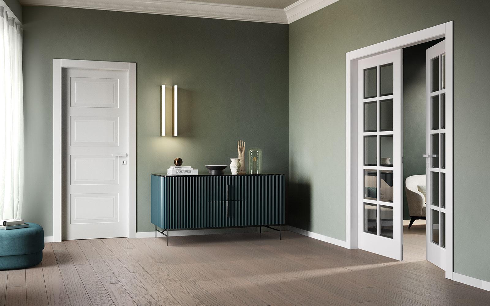 Porte laccate bianche con vetro classiche - Garofoli