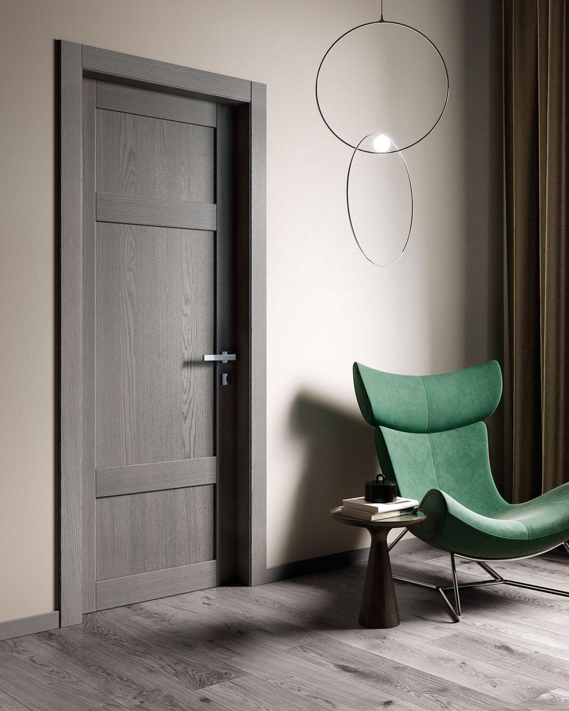 Porta in legno rovere con parquet grigio - Garofoli