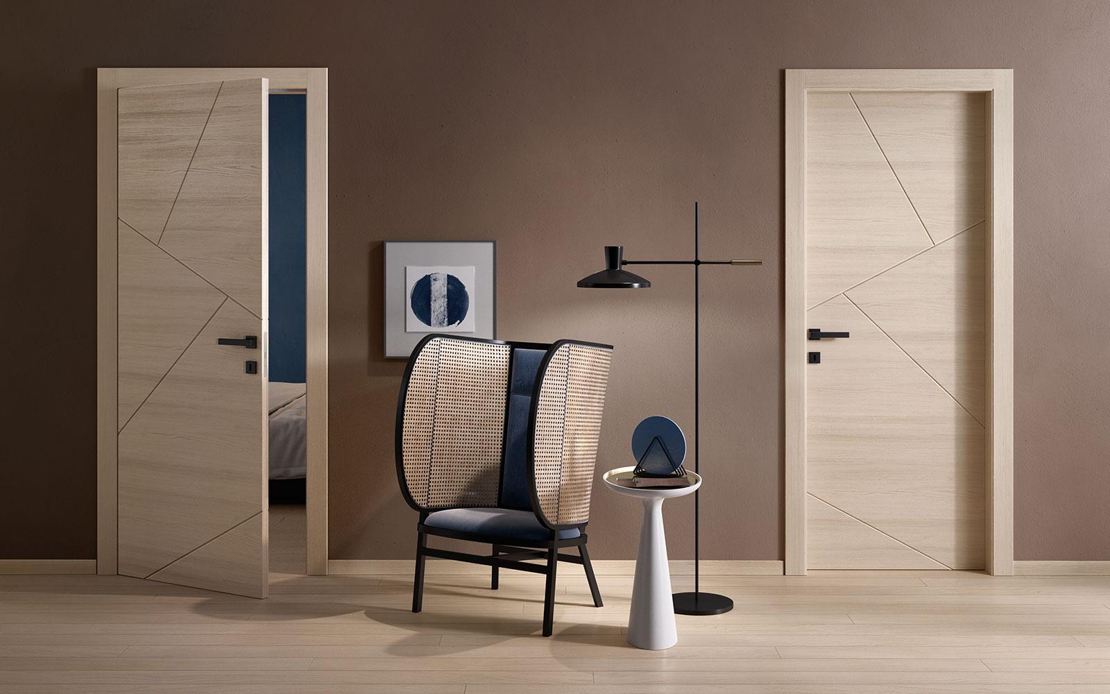 Porte moderne in legno con decoro geometrico - Garofoli