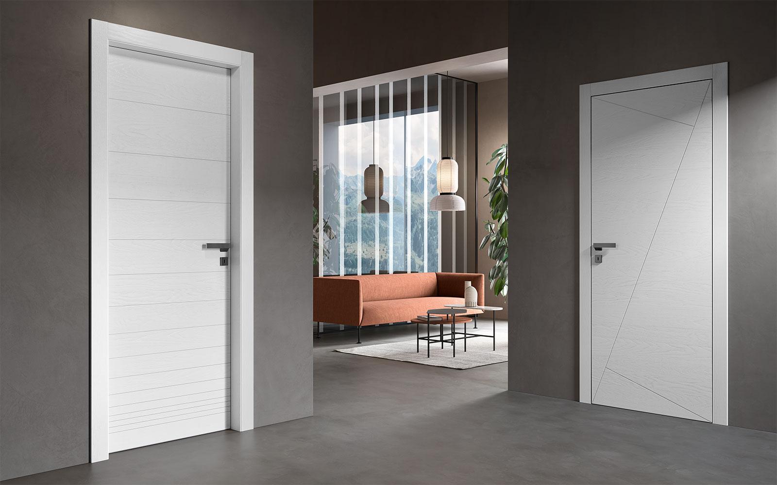 Porte laccate bianche con decoro moderno - Garofoli