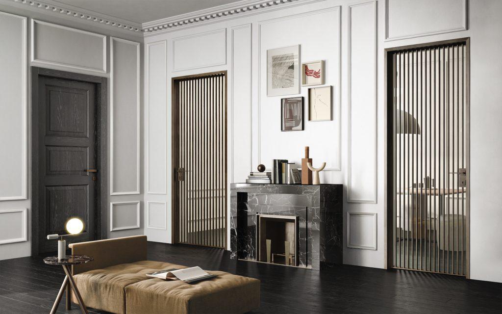 Porte in vetro e porta classica in legno rovere nero