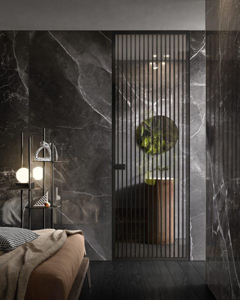 Porte a filo muro in vetro con marmo