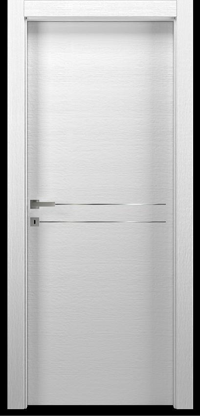 Porte intérieure battante MIL 1L2F        PORTA BATT.SING. T.YY19, No Limits - Blanc veine - Gidea