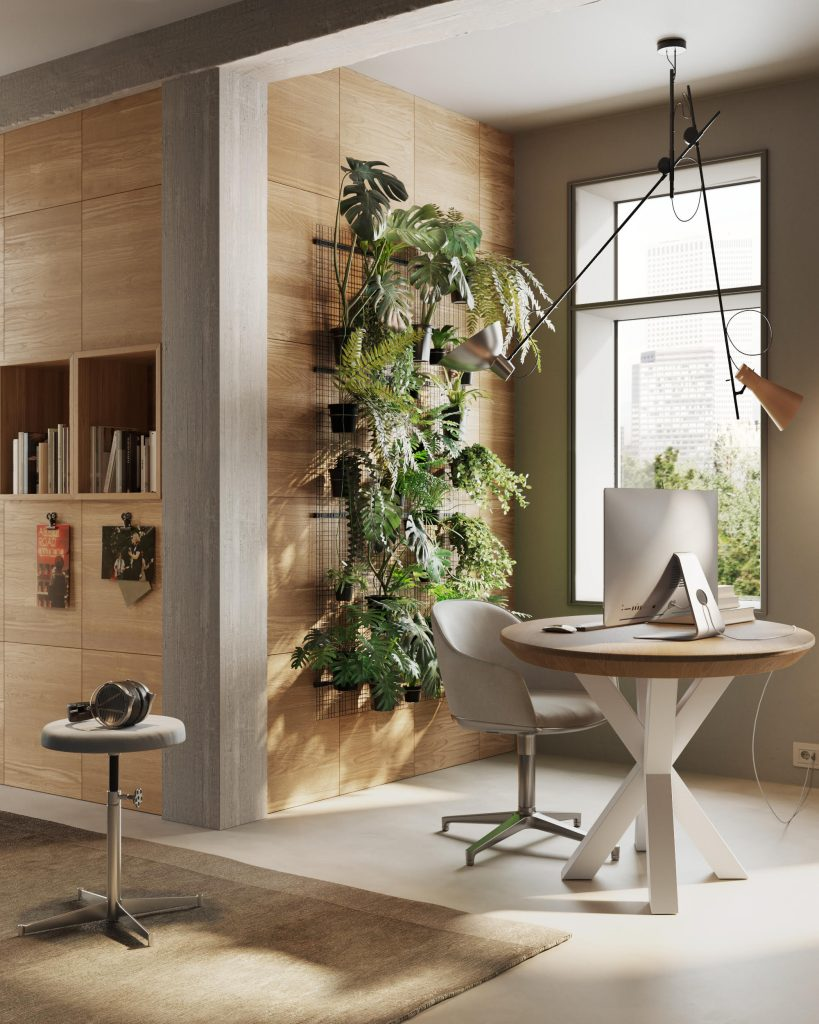 Home office con boiseri e libreria in legno