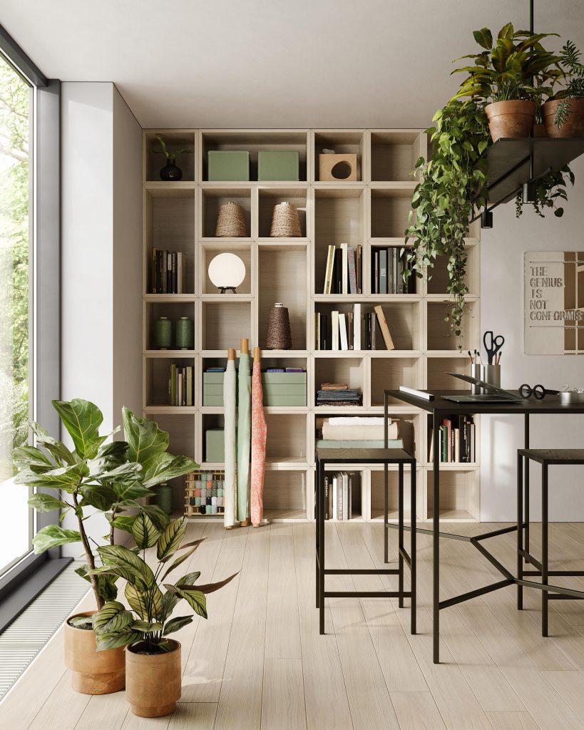 Libreria in legno con parquet coordinato