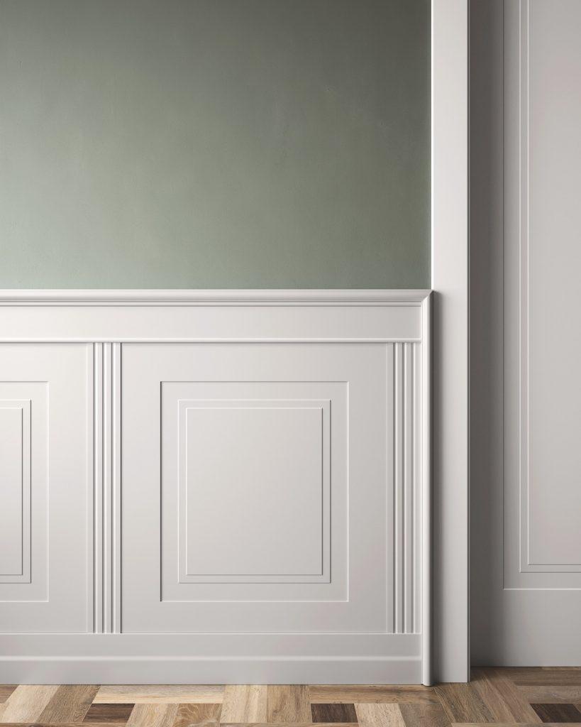 Rivestimento da parete laccato bainco pantografato con porta da interni