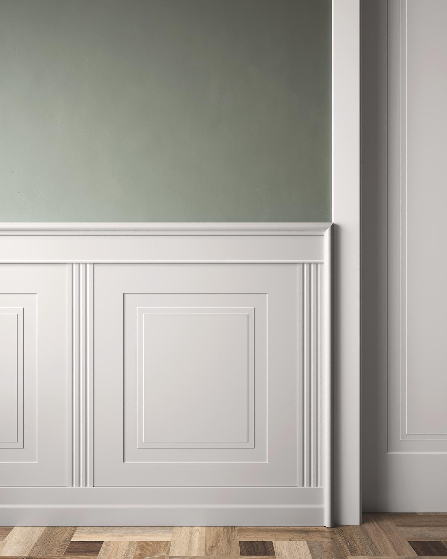 Rivestimento da parete laccato bainco pantografato con porta da interni - Garofoli
