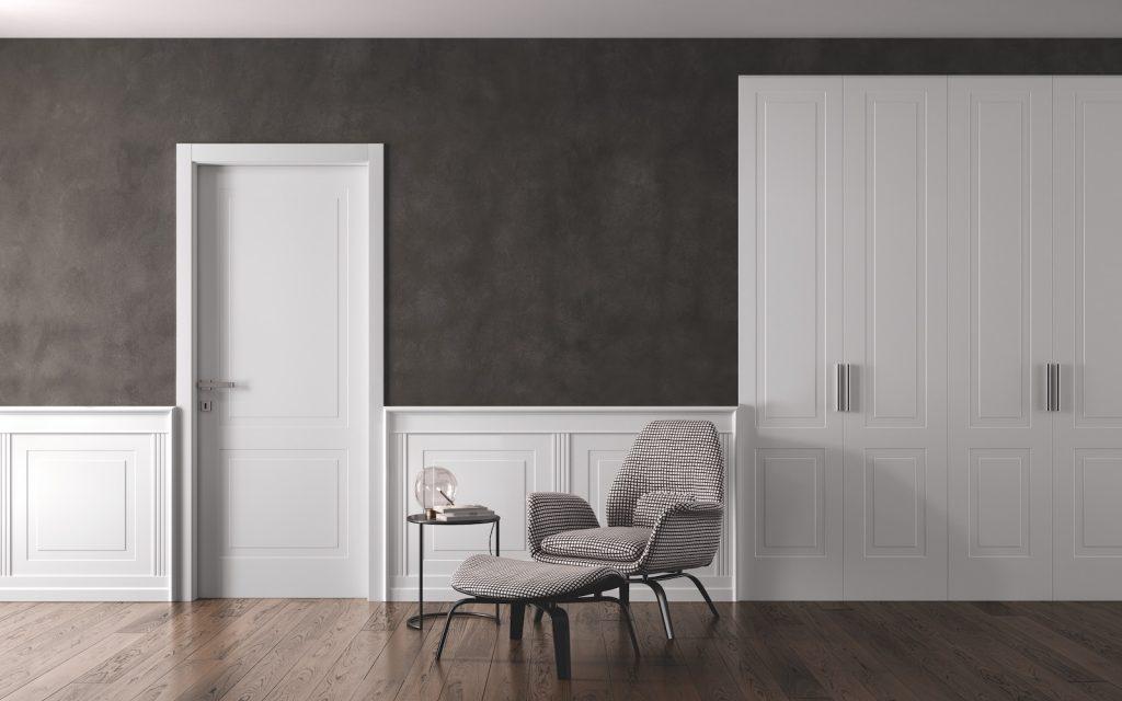 Porte laccate Miraquadra con parquet grigio