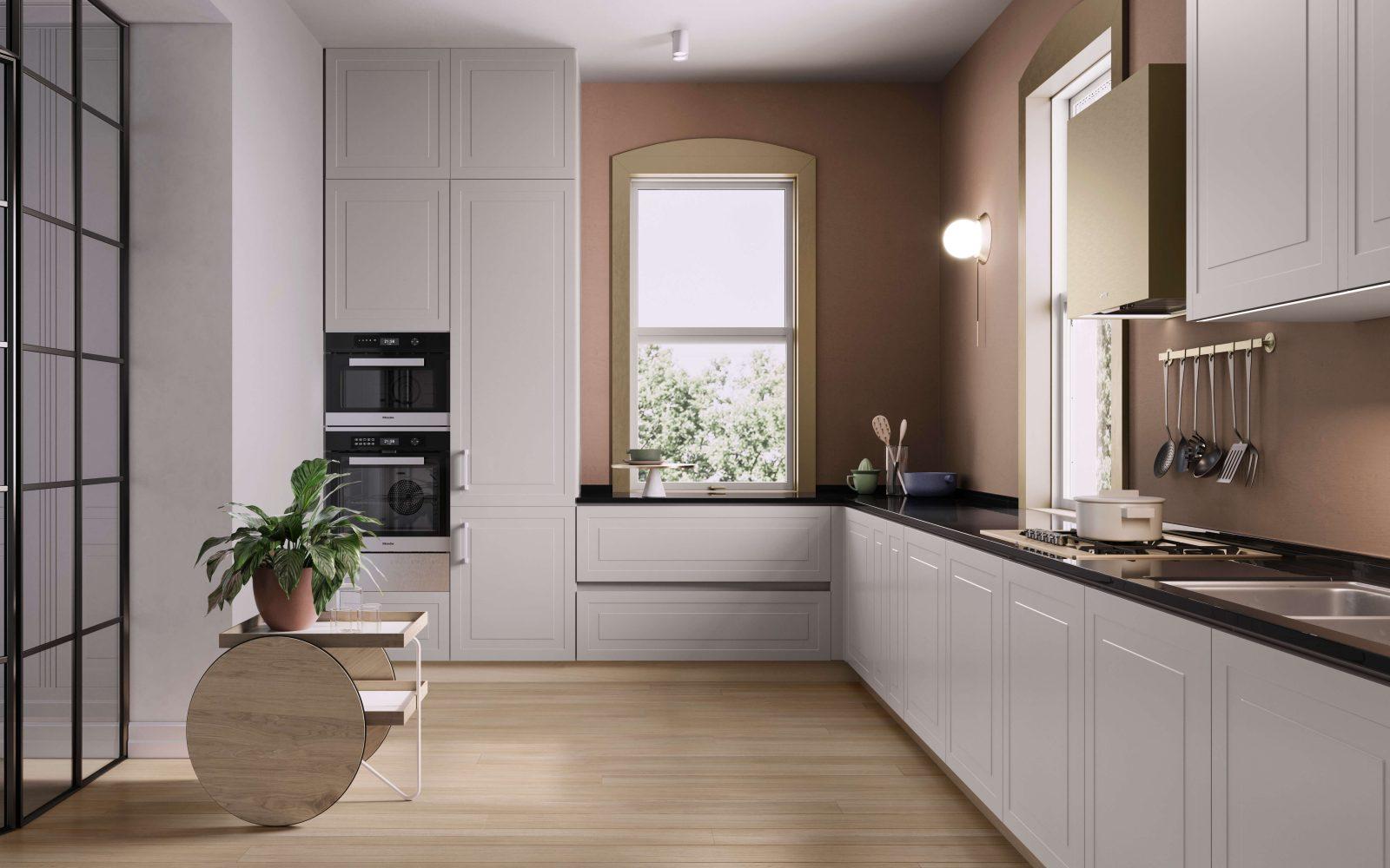 Boiserie pantografata e porta a vetri Garofoli per cucina classica - Garofoli