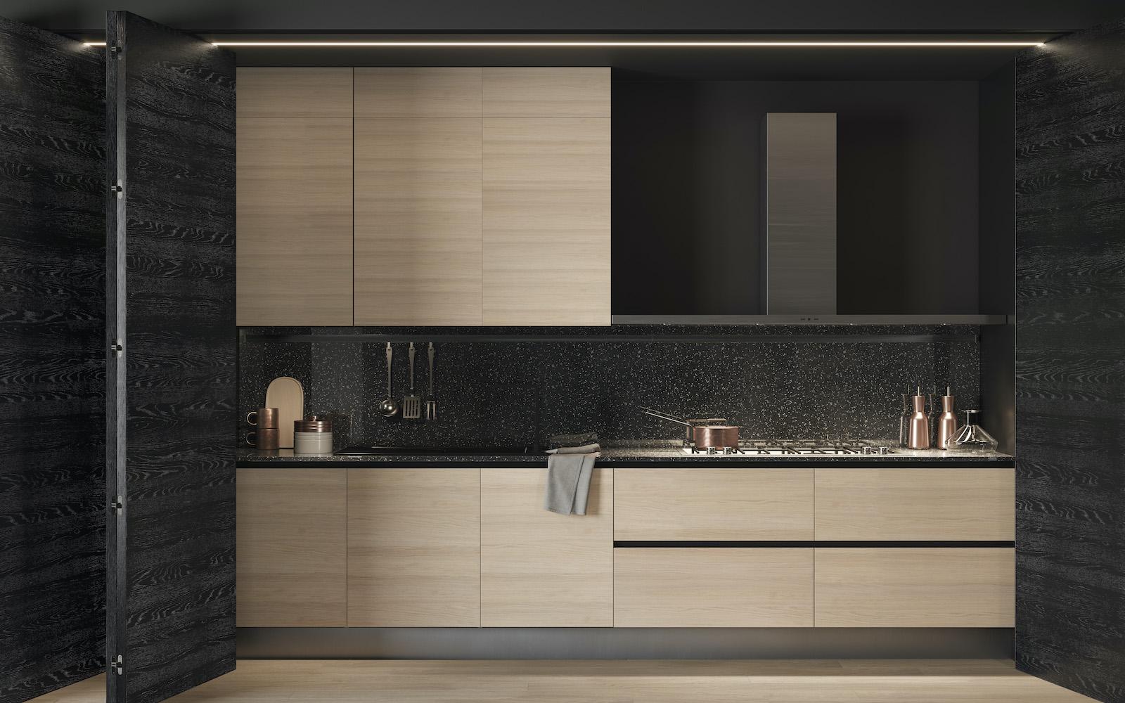 parete divisoria con apertura a fisarmonica e parquet Garofoli per cucina moderna