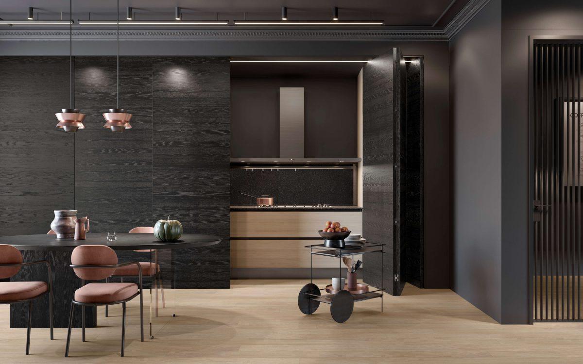 Porta in vetro con traversi verticali Garofoli parquet in rovere per cucina moderna - Garofoli