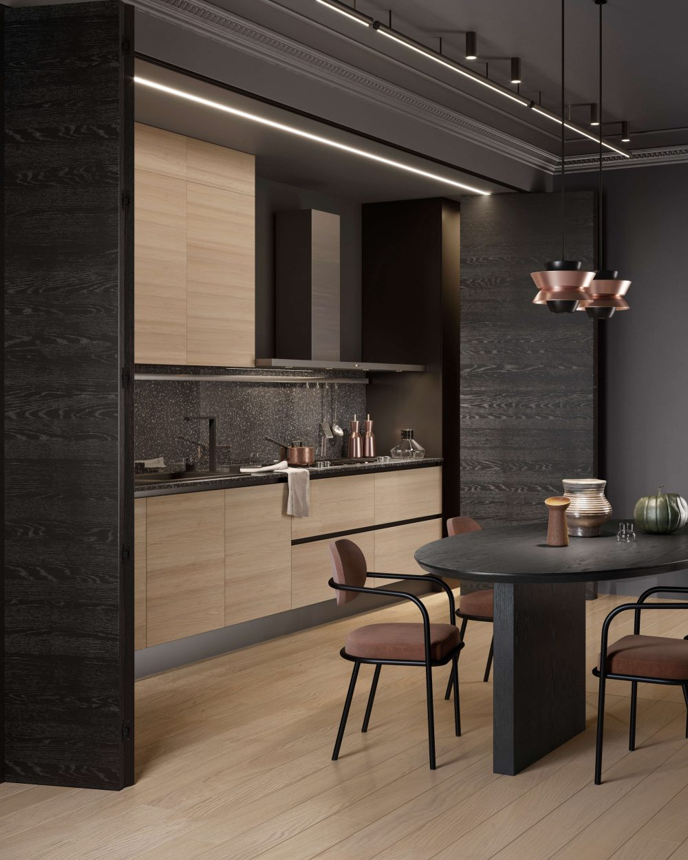 Parete divisoria in legno con apertura a fisarmonica Garofoli per cucina - Garofoli