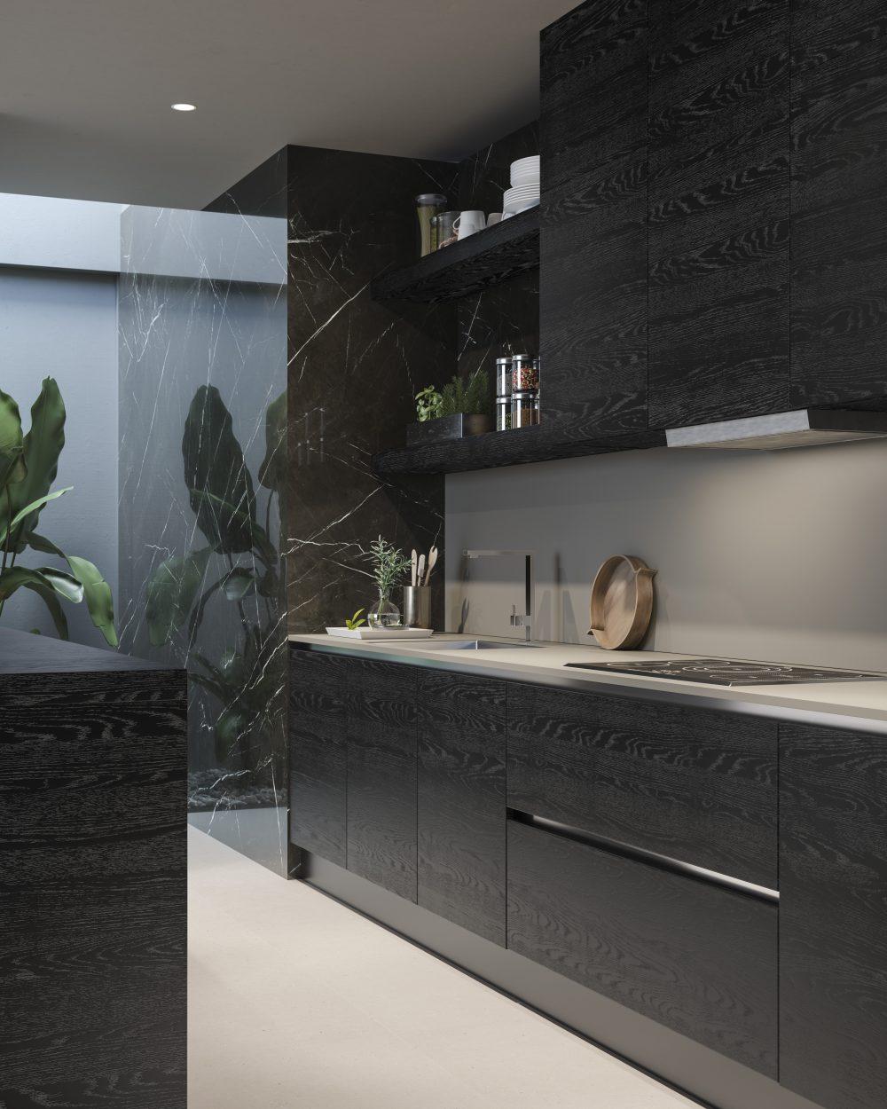Porte interne in vetro e rivestimenti cucina Garofoli Rovere Nero Profondo - Garofoli