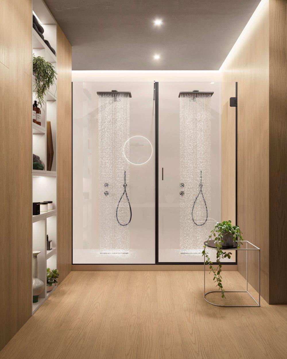 Box doccia in vetro porta battente e boiserie rovere Garofoli - Garofoli