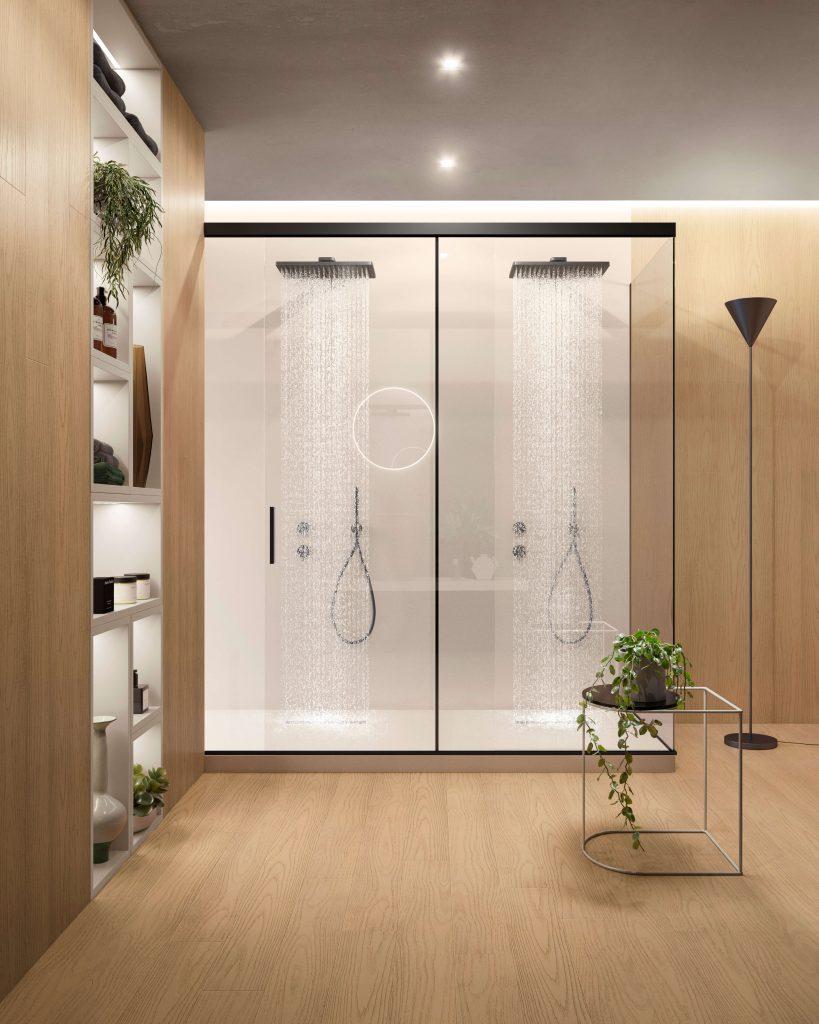 Cabina doccia porta scorrevole a vetro boiserie rovere Garofoli