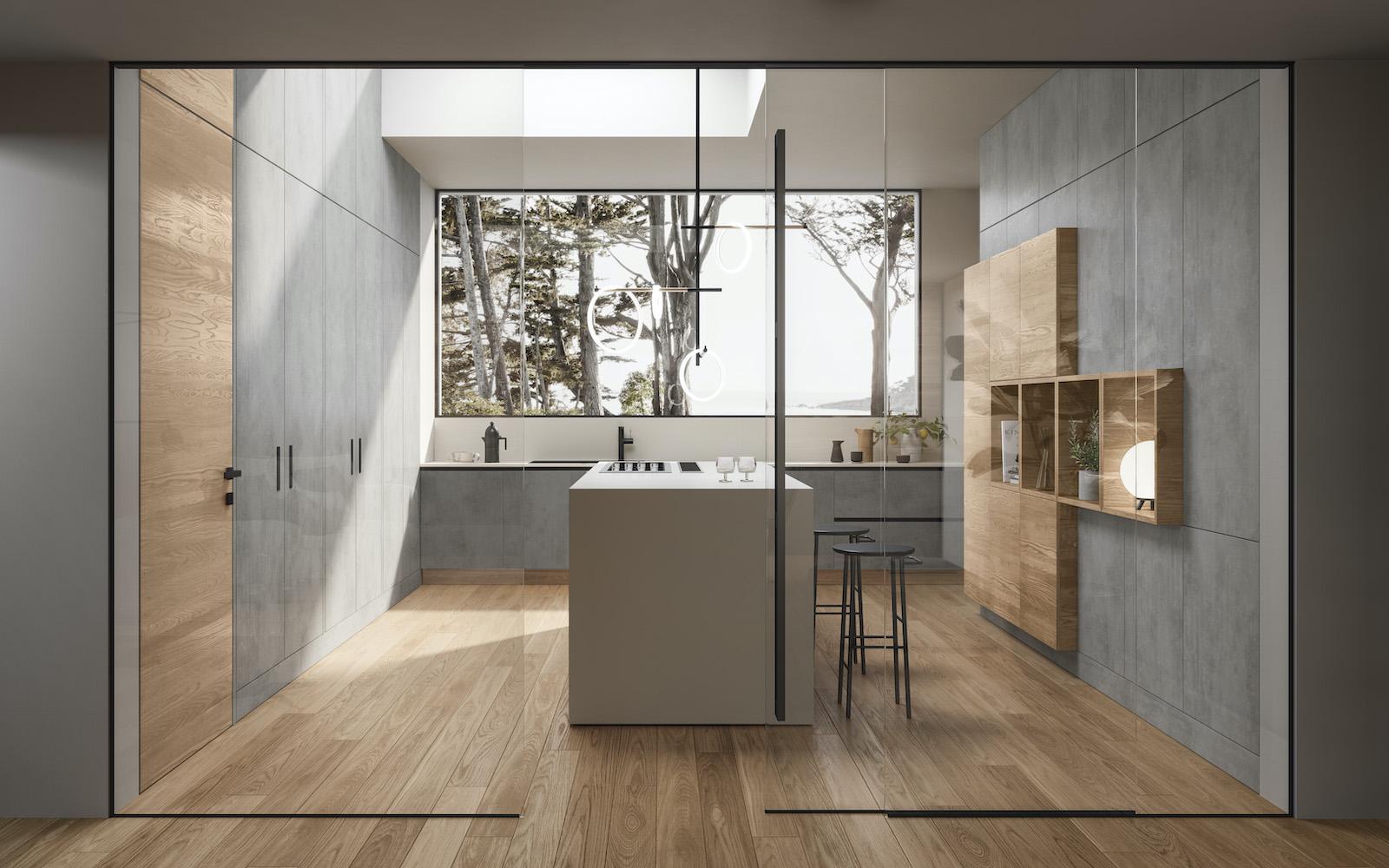 Porta a vetro e porta in legno filo muro Garofoli per cucina moderna - Garofoli